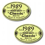 PAIR Distressed Aged Established 1989 Aged To Perfection Oval Design Vinyl Car Sticker 70x45mm Each